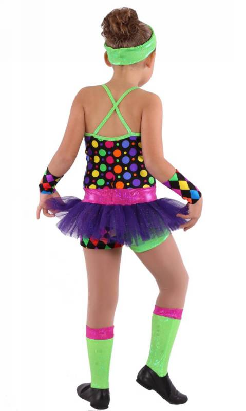 AFRO CIRCUS - Multi Spot on Black with Purple Tulle and fluro green fog trim