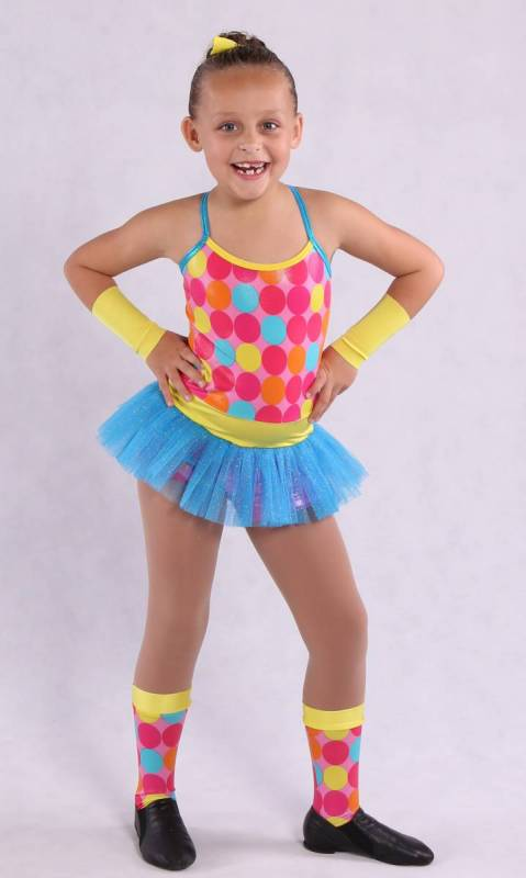 AFRO CIRCUS - Pink multi spot with aqua tulle and yellow trim