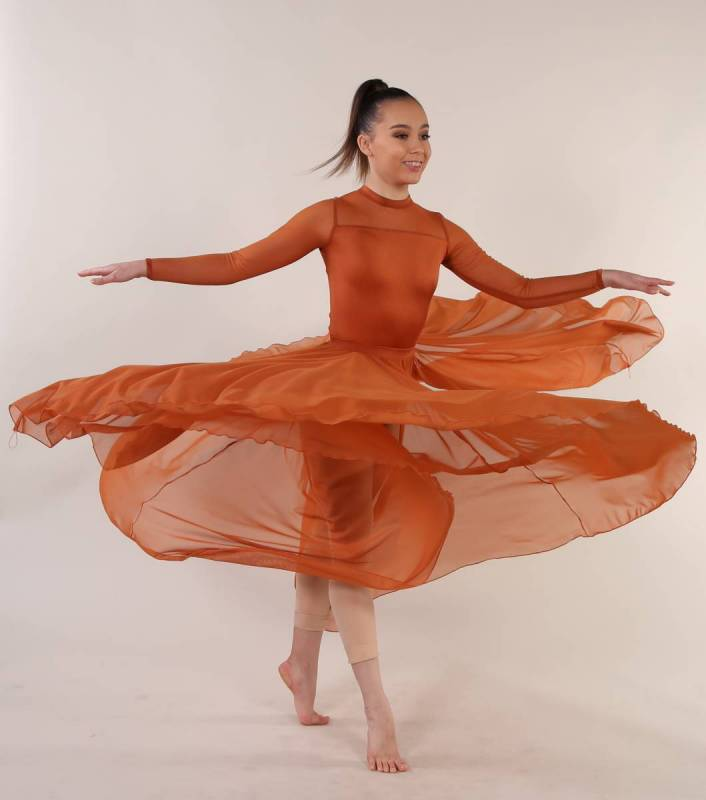 CELESTE - Leotard  - Copper  with Gospel skirt that is sold separately