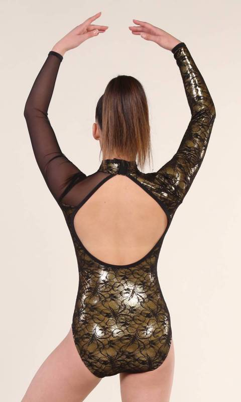 ELLA - LEOTARD  - Gold foil  and Black lace