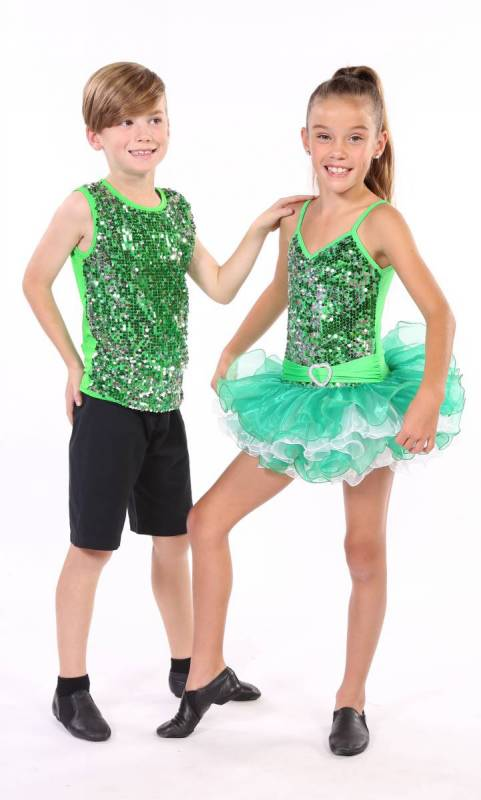 BOYS SEQUIN FRONT TOP  - Emerald Green