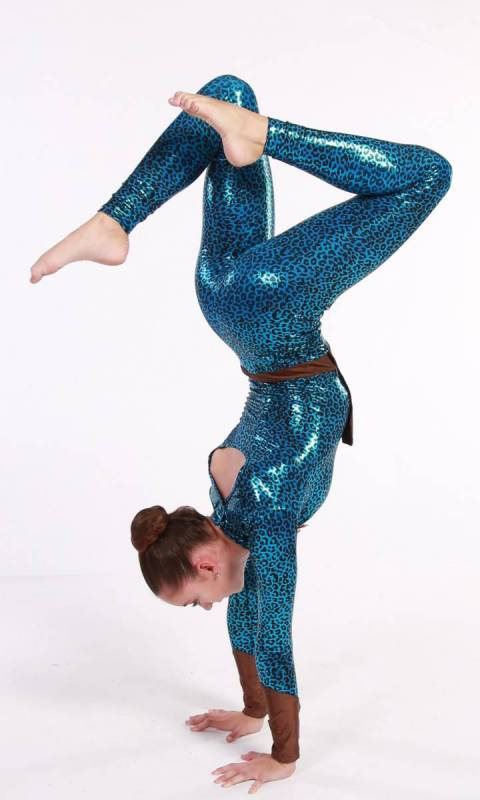 AVATAR- unitard - Tribal - Aqua foil and brown