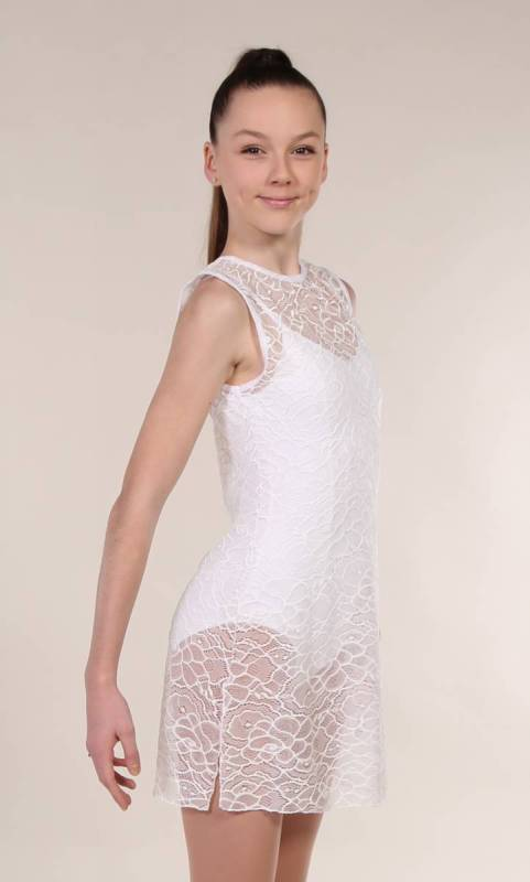 TUNIC OVERLAY - LACE  - White Stretch Lace