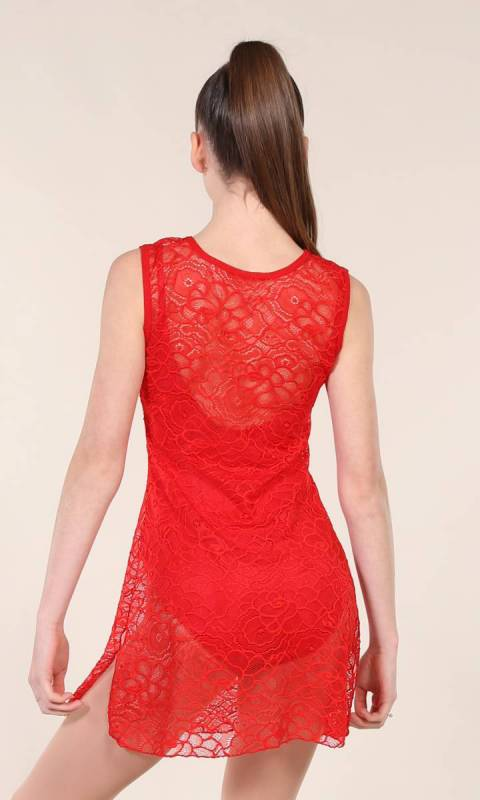 TUNIC OVERLAY - LACE  - Red stretch Lace
