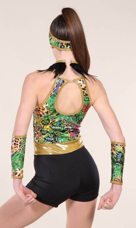 TROPPO SHORTARD include hair and armbands - Tropical Jungle print with black cotton and gold fog