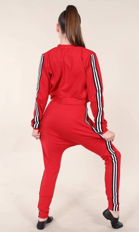 STREET  PANTS  - Red supplex and black and white stripe