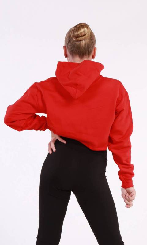 BROOKLYN CROPPED HOODIE  - Red