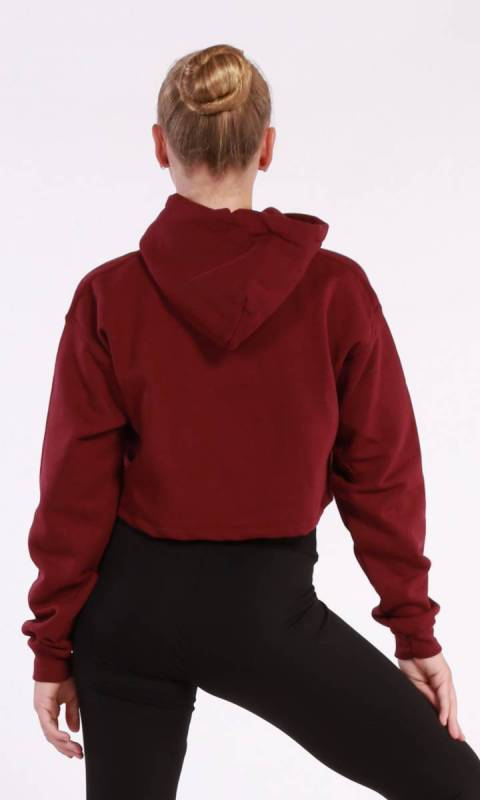 BROOKLYN CROPPED HOODIE  - Burgandy