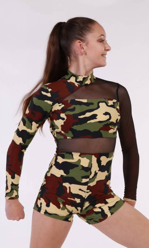 ELLA SHORTARD  - Camo Print  and black mesh