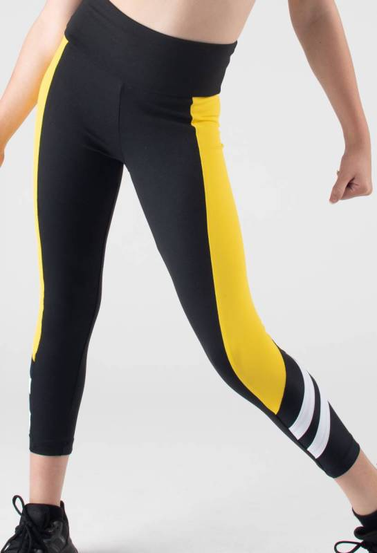 ALPHA TIGHTS  - Black  Yellow and White