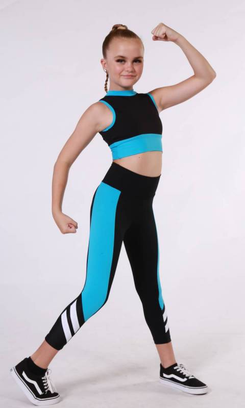 ALPHA TIGHTS  - Black + Aqua + White
