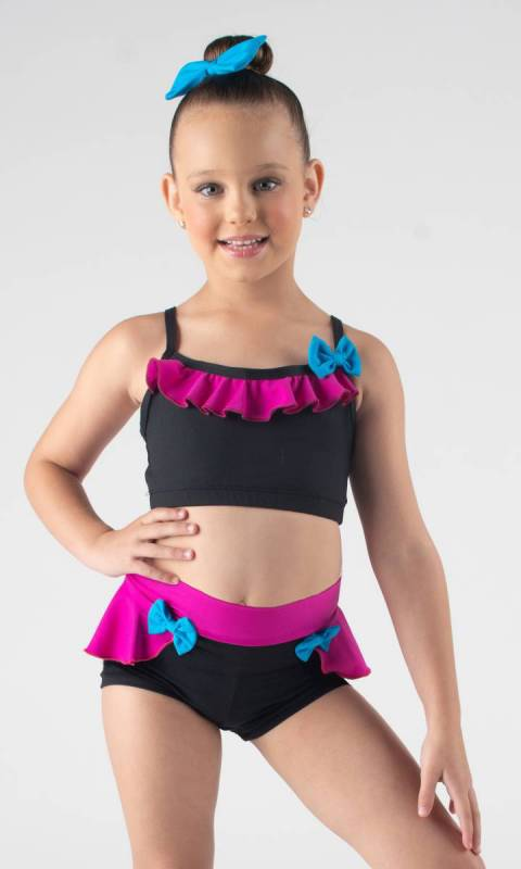 FRILL & BOW CROP  - Black, Fuchsia and electric pictured with frill and lace shorts