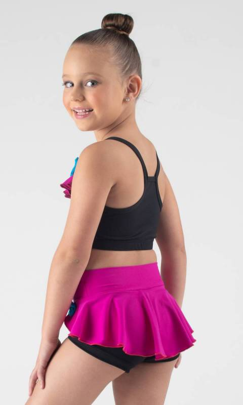 FRILL & BOW CROP  - Black, Fuchsia and electric
