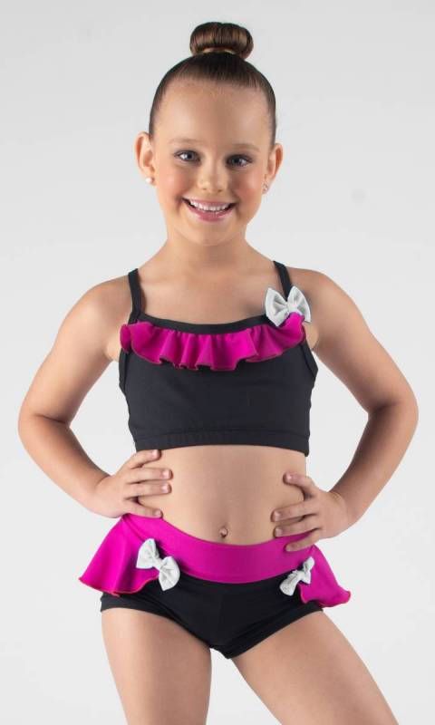WILLOW CROP - frill and bow Dance Costume
