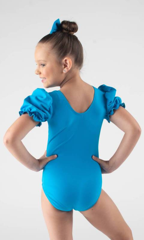 PUFF SLEEVE LEOTARD  - Electric Blue Supplex
