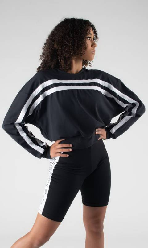 FREEDOM SWEATER  - Black + White  Pictured with Racer Panel shorts sold separately