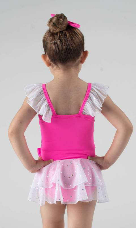 SOPHIE - Leotard dress  - Neon Pink + White