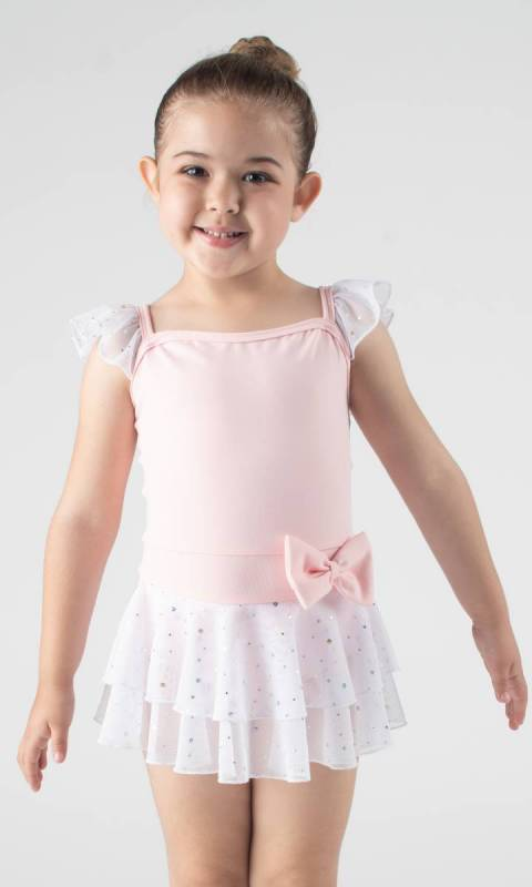 SOPHIE - Leotard dress  - Ballet Pink + White