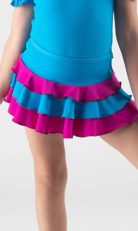 TRIPLE FRILL SKIRT  - Electric + Fuchsia