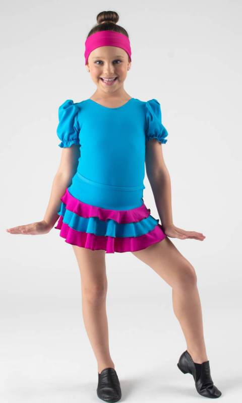 TRIPLE FRILL SKIRT  - Electric + Fuchsia pictured with Puff Sleeve Leotard