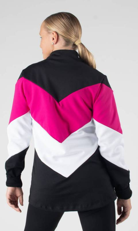 ZIG ZAG JACKET  - Black + White + Fuchsia