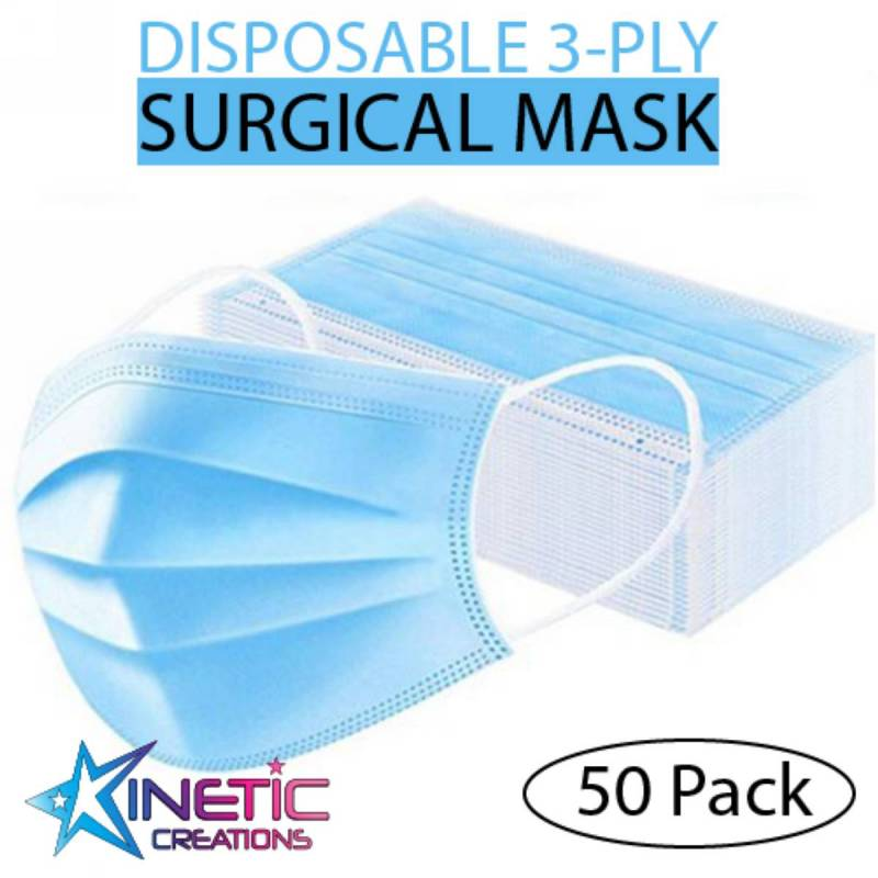 Face Mask - Medical  3 ply  PACK OF 50 Dance Costume
