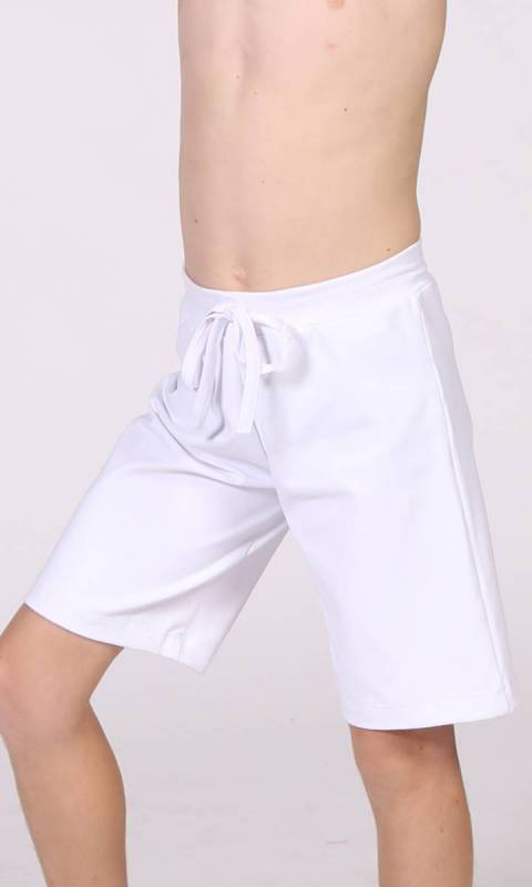 BOYS Shorts Drawcord - Plain - White Cotton Lycra