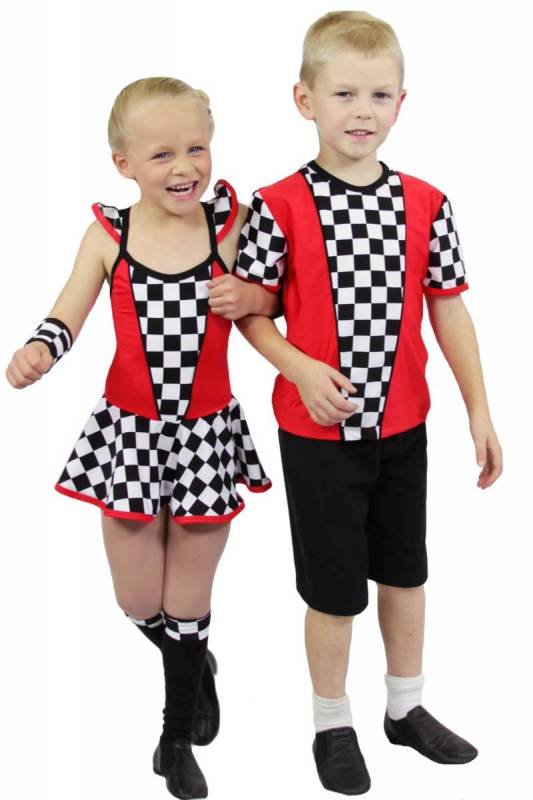 INDY BABY - Red and black and white check with red and black bind and pipe