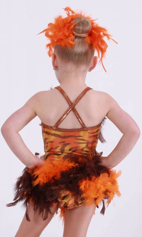 NALA lion king - Sherba Khan print lycra and orange and brown feathers