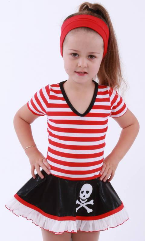 Baby Pirates - red white and black with scull