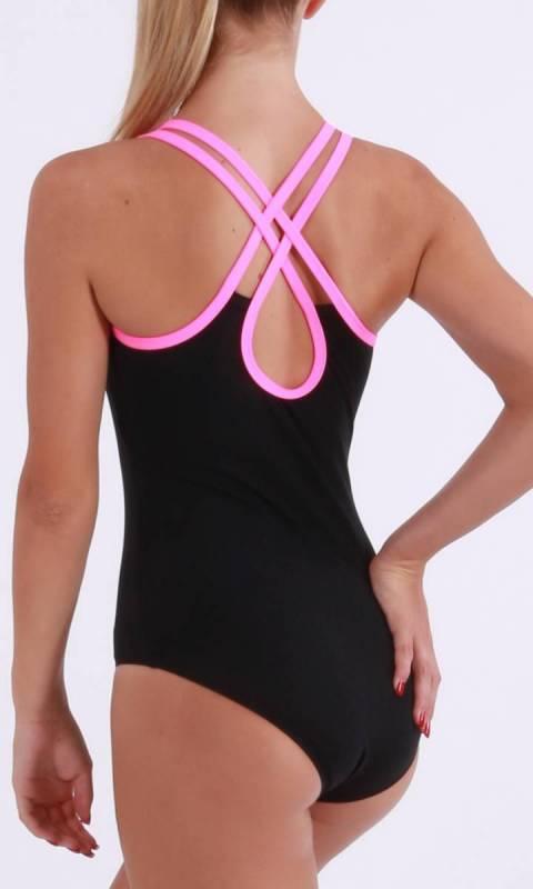 HAYLEY - leotard - Supplex Black and Neon Pink