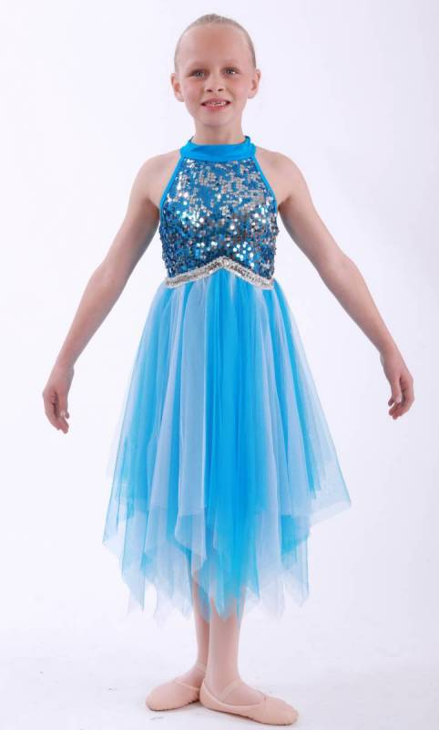 PARADISE  - Blue nylon lycra with light and dark blue mesh and sequin bodice
