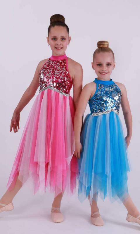 Fuschia Nylon Lycra with light pink and dark pink mesh and sequin bodice