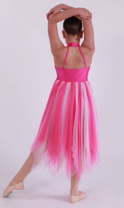 PARADISE  - Fuschia Nylon Lycra with light pink and dark pink mesh and sequin bodice