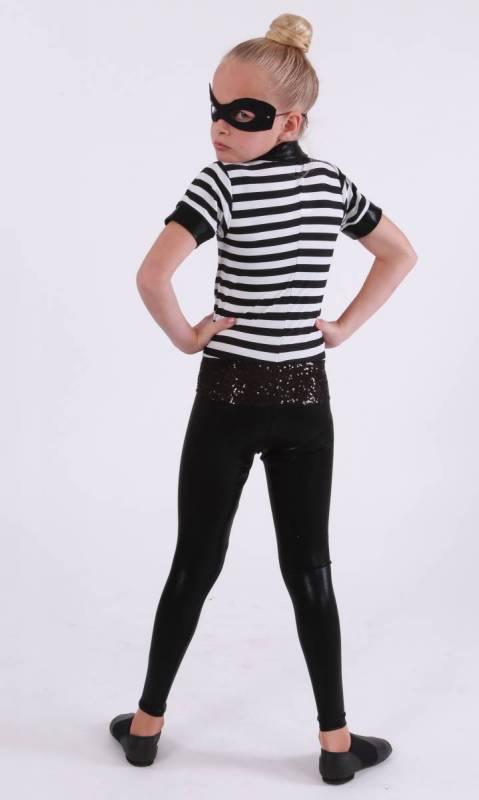 CAT BURGLAR  - Black Fog Lycra  Black and white stripe lycra  zsa zsa trim