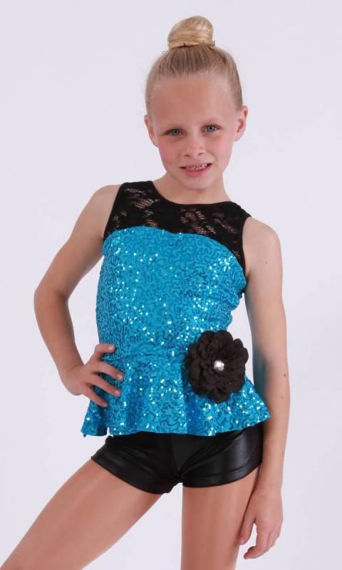 GIRLFRIEND  - Aqua Zsa Zsa with black lace