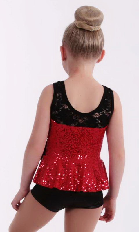 Red Zsa Zsa Sequin with black stretch lace  and wet look high shorts