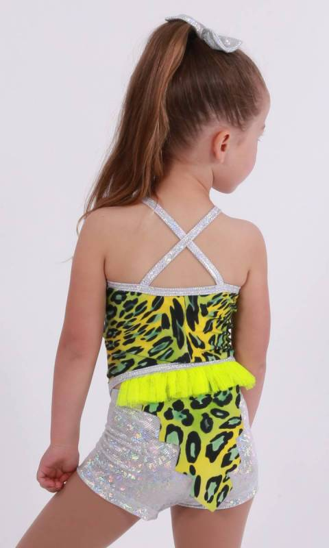 DINOSAURUS Vest with tail with shorts - ANIMAL PRINT WITH FLURO YELLOW NET  silver shattered glass