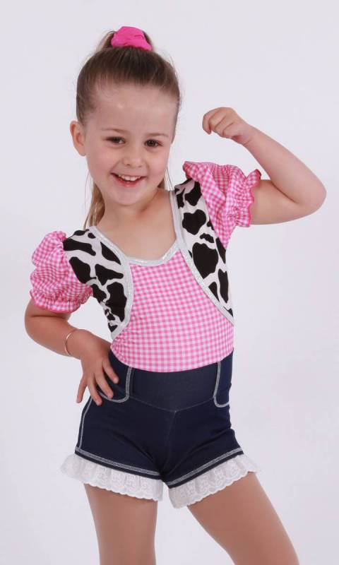 YEEHA - Pink Gingham, Cowprint and denim spandex with lace