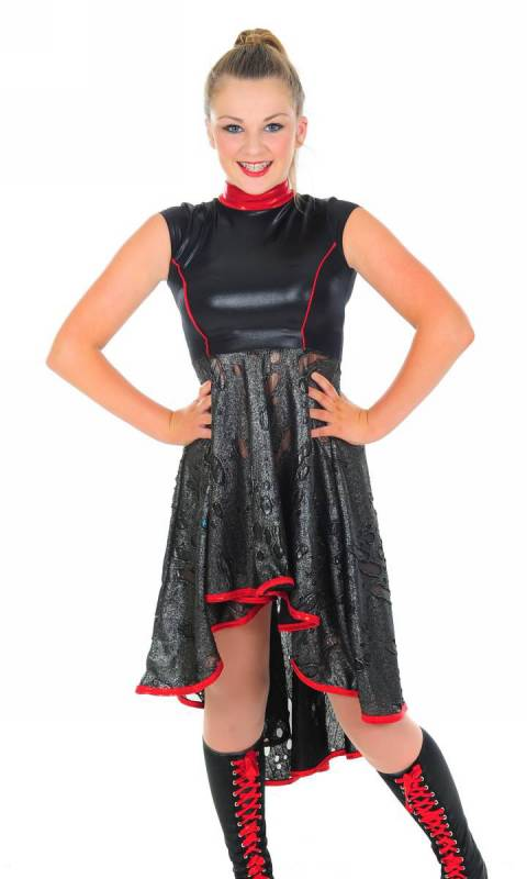 INDIVIDUALITY - Dress - Black and silver shadowhole jersey with black wetlook and petrol trim