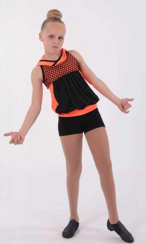 SCREAM - top and shorts - Neon Orange and Black