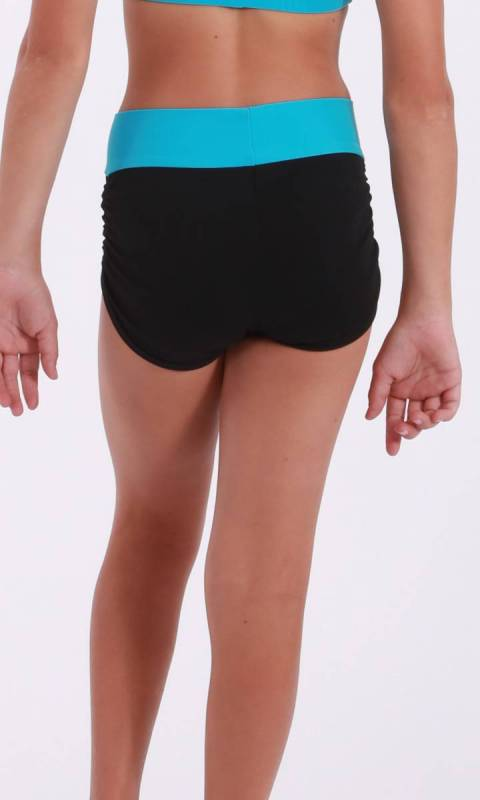 JAMIE LEE hot shorts - ruched sides  - Supplex Black with aqua band