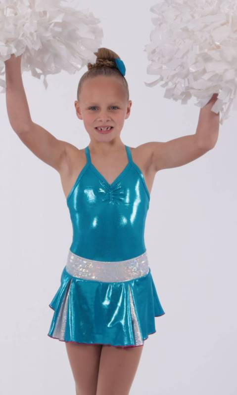 CHEER SKIRT - ONLY  - Aqua and Silver