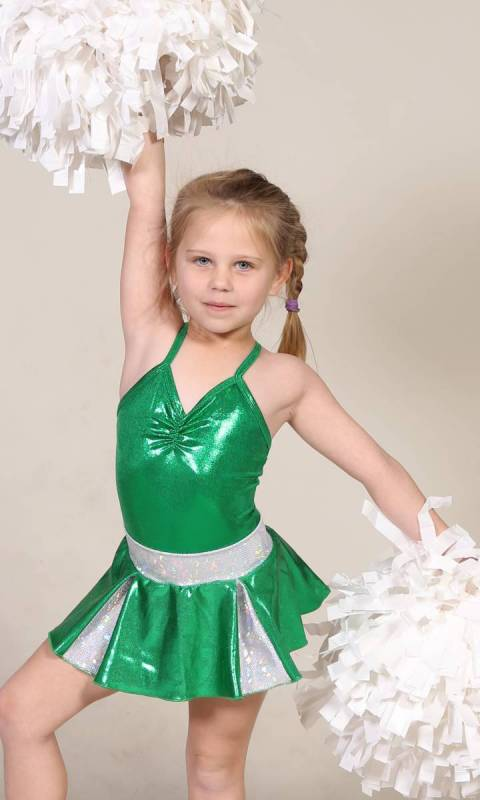 CHEER SKIRT - ONLY  - Emerald Green and Silver