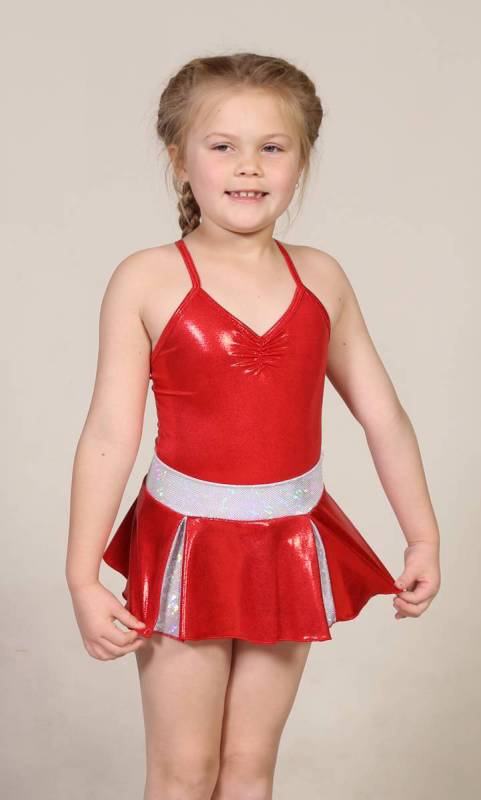 CHEER SKIRT - ONLY  - Red and Silver