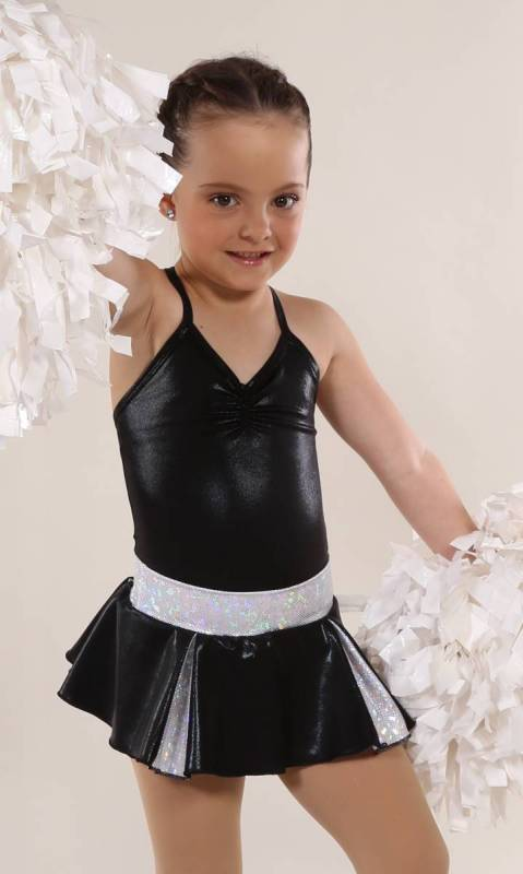 CHEER SKIRT - ONLY  - Black and Silver
