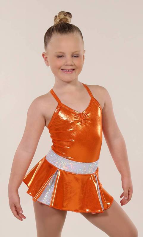 CHEER SKIRT - ONLY  - Orange and Silver