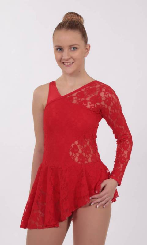 FOREVER YOUNG LACE OVERLAY  - Red spandex lace