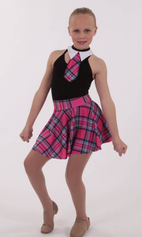 SCHOOL SKIRT COLLAR AND TIE  - Pink Tartan