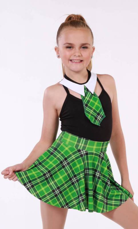 SCHOOL SKIRT COLLAR AND TIE  - Green Tartan